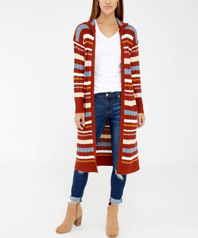 hooded striped cardigan - wb, Brown, hi-res