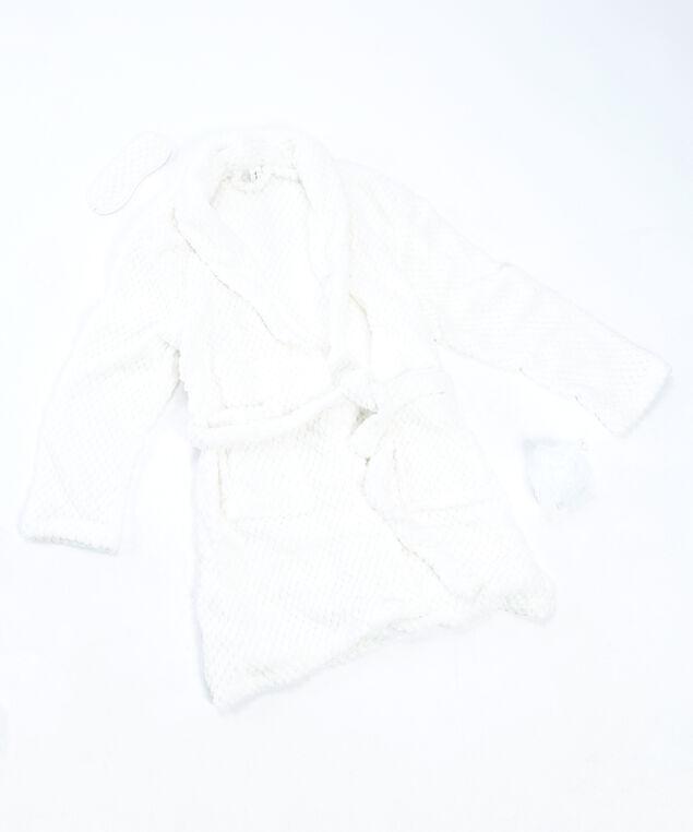 women's 3 piece bathrobe set, White