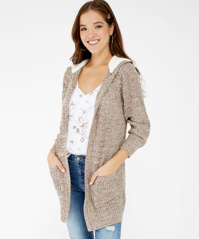 long hooded cardigan - wb, Natural, hi-res