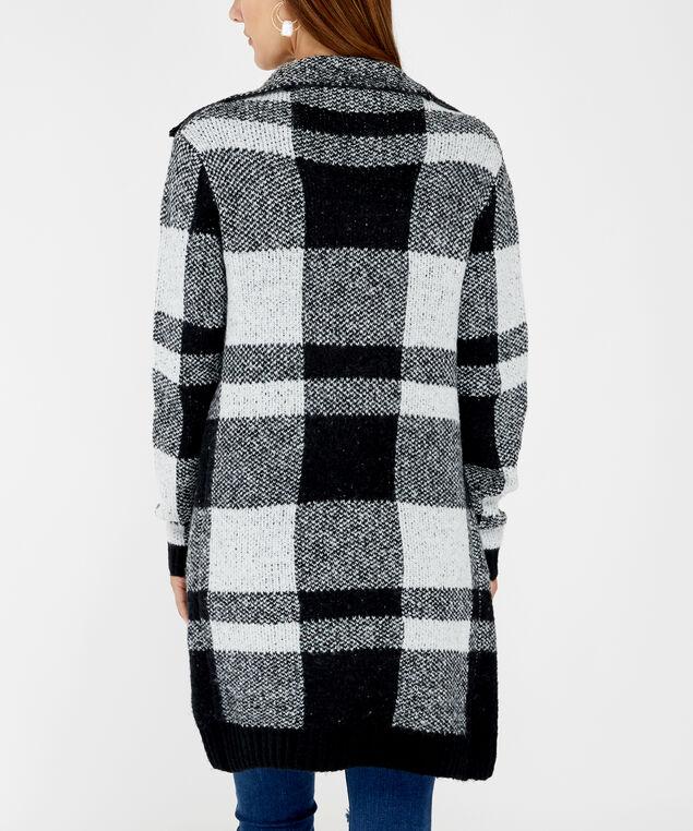 checkered cardigan - wb, Black, hi-res