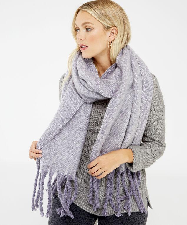 chunky fringe blanket scarf, Lilac, hi-res