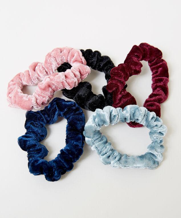 5 pack mini velvet scrunchies, MULTI, hi-res