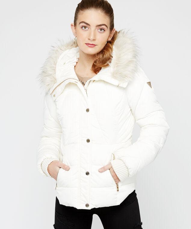 fur hooded puffer jacket, White, hi-res