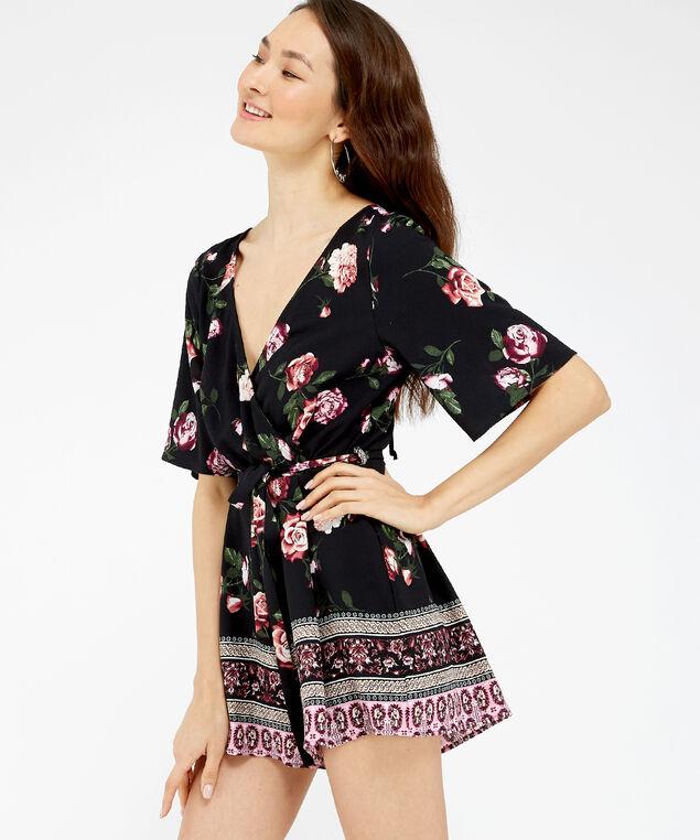 kimono sleeve romper - wb, BLACK FLORAL, hi-res