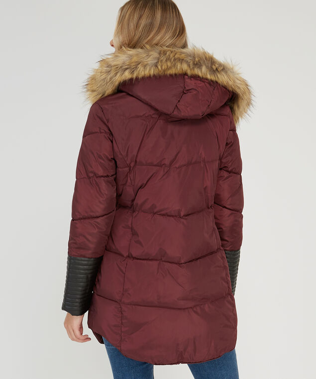 hooded parka with sleeve inserts - wb, BORDEAUX, hi-res