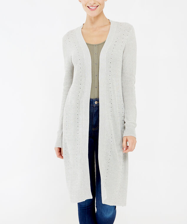 pointelle stitch cardigan - wb, SILVER, hi-res