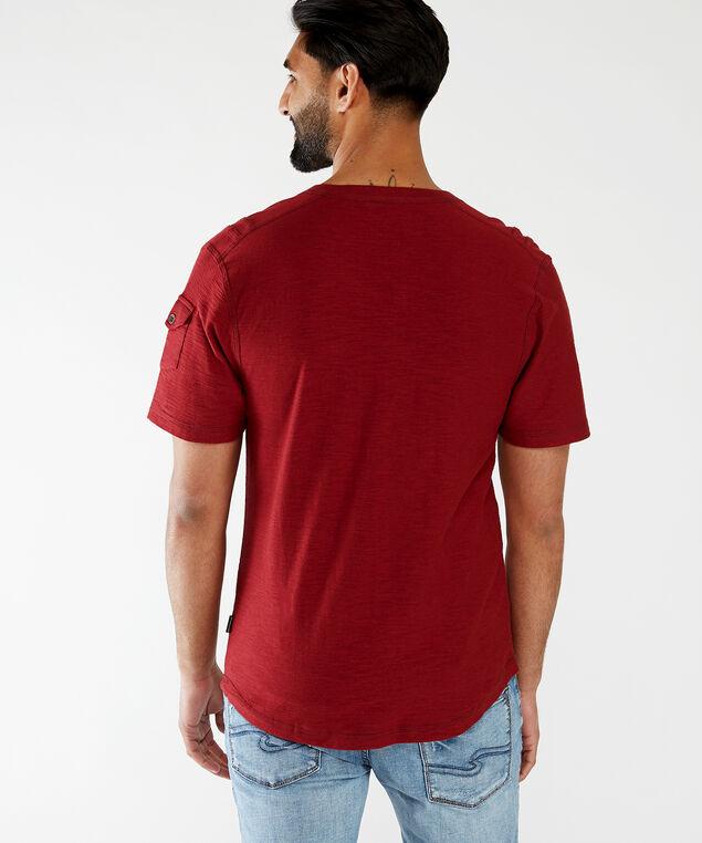 contrast stitch v-neck, Burgundy