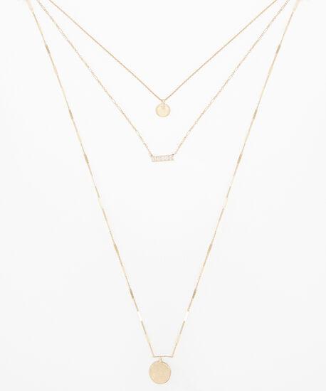 triple layer necklace, GOLD, hi-res