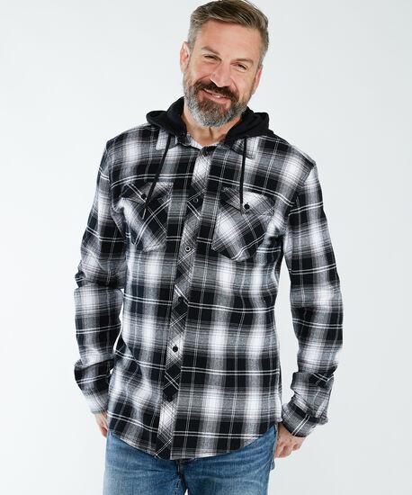 hooded flannel, Black Pt, hi-res
