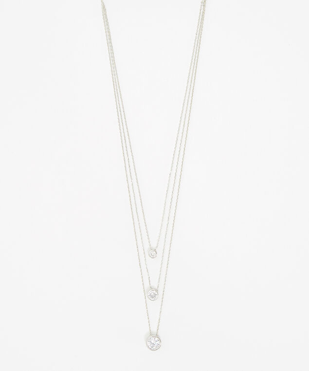 triple layer diamante necklace, SILVER, hi-res