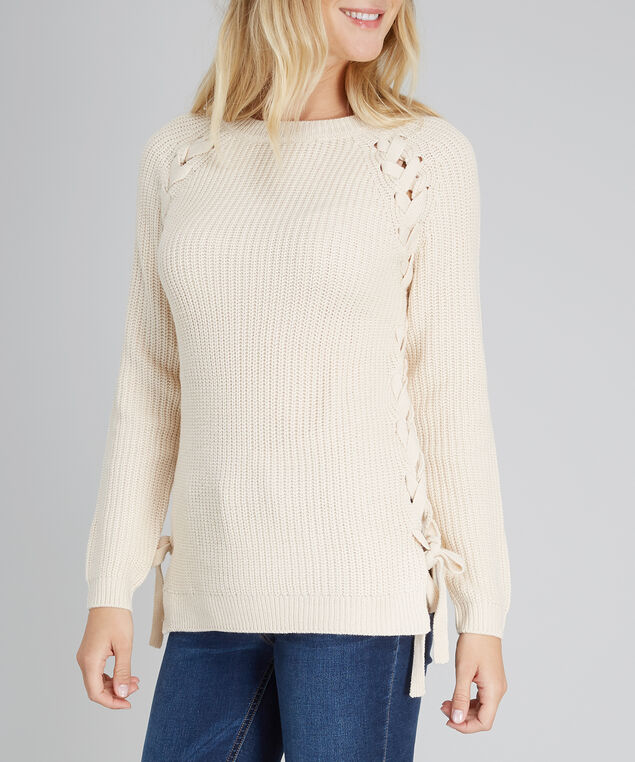 lace up side popover - wb, OATMEAL, hi-res