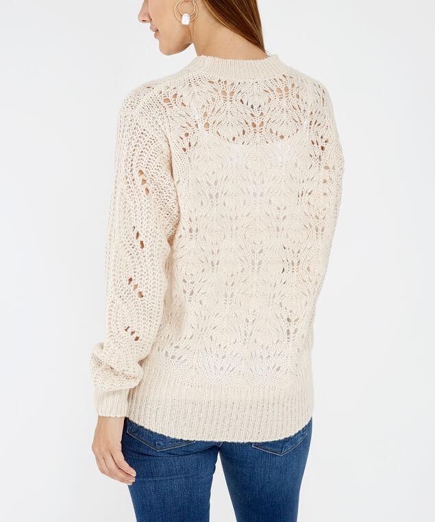 pointelle stitch sweater - wb, White, hi-res