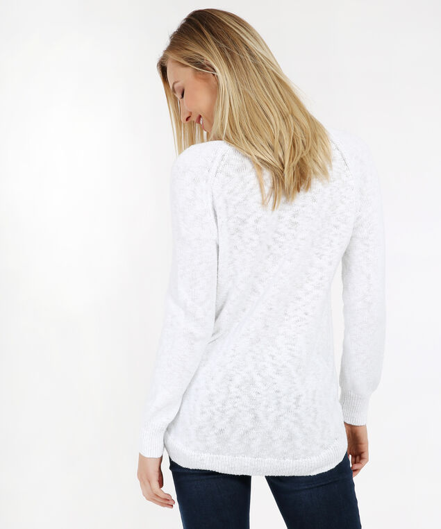 lace up shoulder sweater - wb, WHITE, hi-res