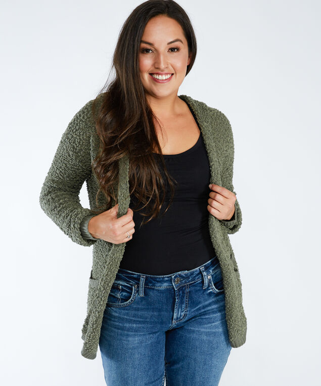 open front sweater cardigan, Sage