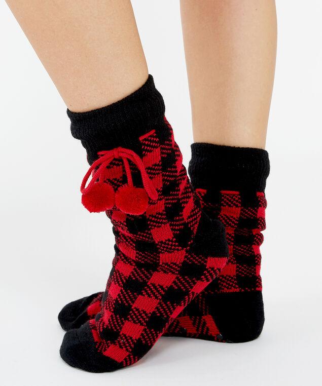 cable slipper sock, Plaid, hi-res