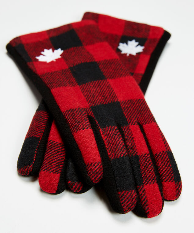 buffalo plaid gloves with maple leaf, Red Plaid, hi-res