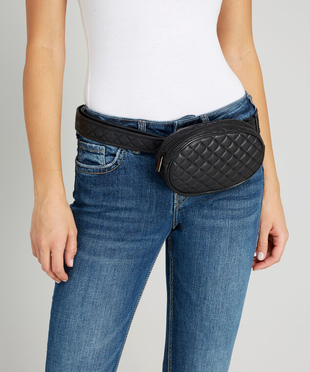 quilted waist pouch - wb, BLACK, hi-res