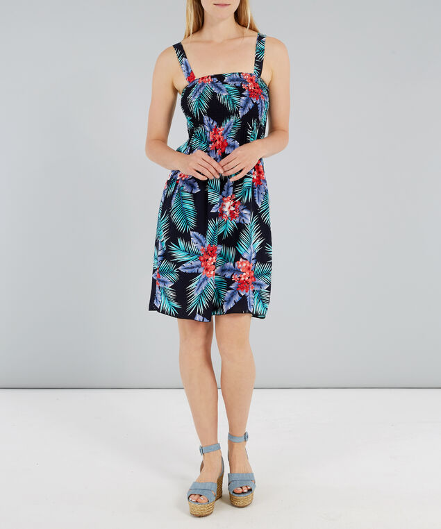 woven dress with smocking at bust, NAVY TROPICAL, hi-res
