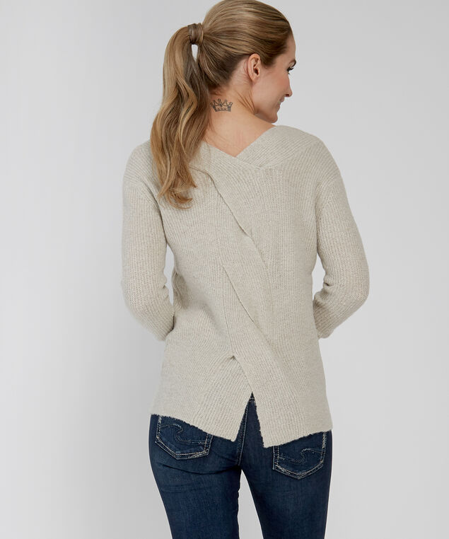 double v-neck sweater - wb, NATURAL, hi-res