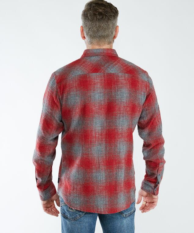 Long Sleeve Plaid Shirt, Burgundy Plaid