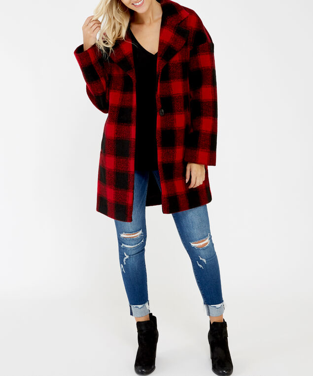 buffalo check car coat - wb, Red Plaid, hi-res