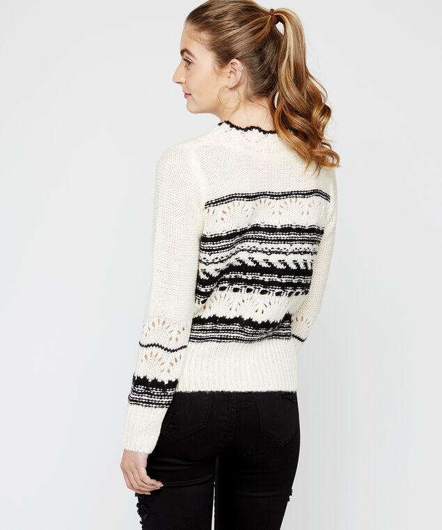 pointelle sweater - wb, White/Black
