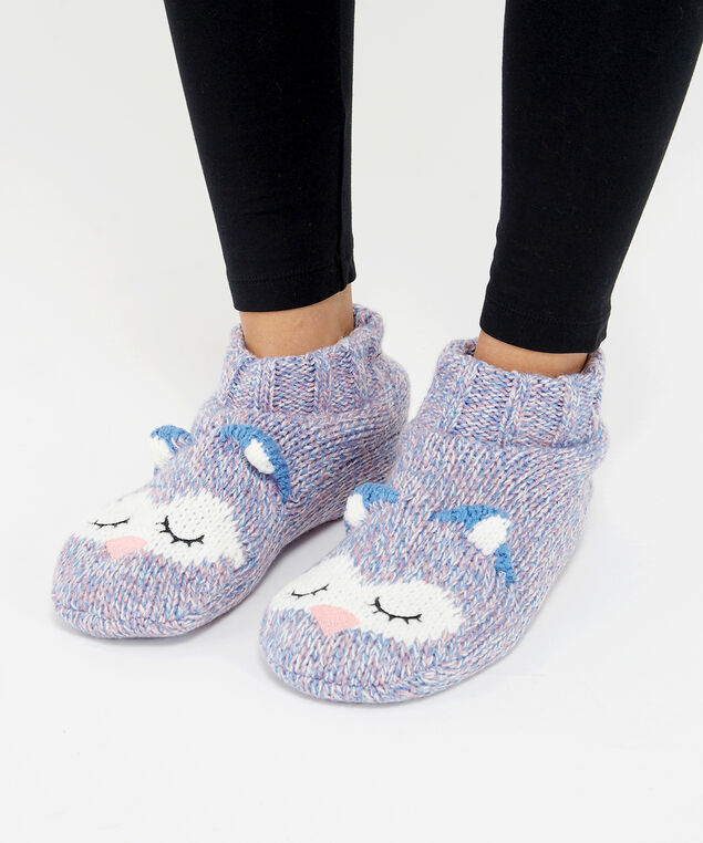 owl knit slipper socks, Lilac, hi-res