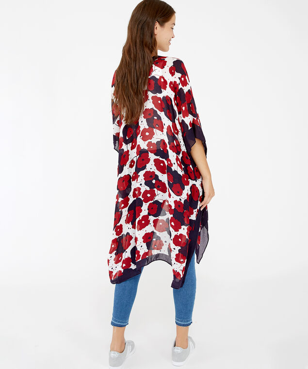 poppy kimono, RED PRINT, hi-res