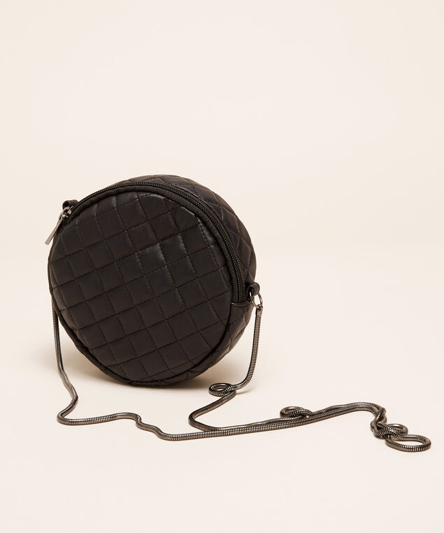 quilted round purse - wb, BLACK, hi-res