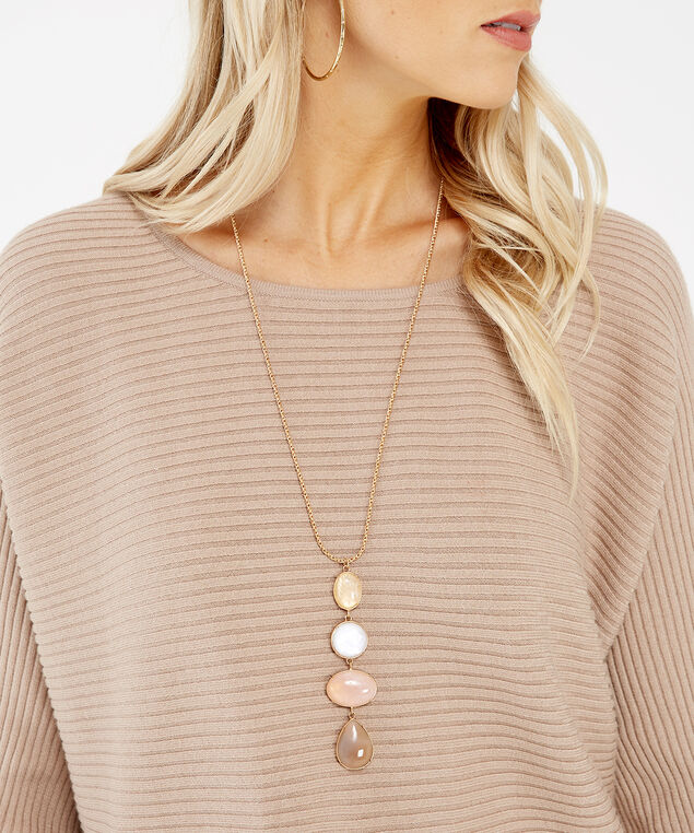 long stone necklace, GOLD, hi-res