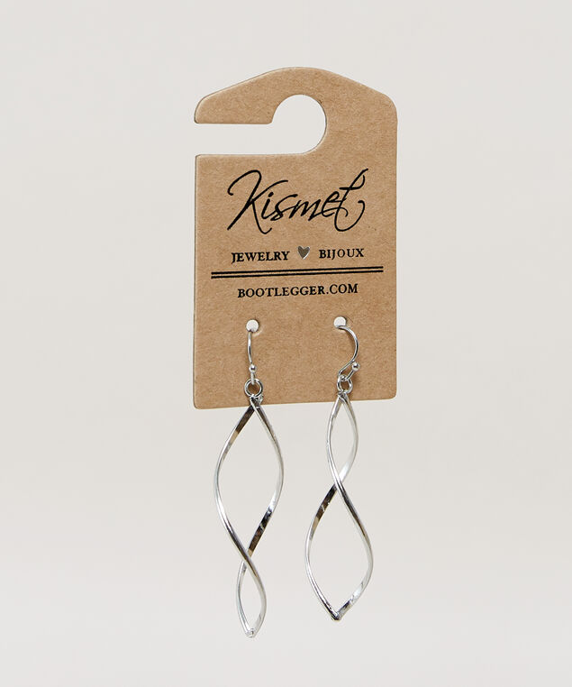 open twist earrings, SILVER, hi-res