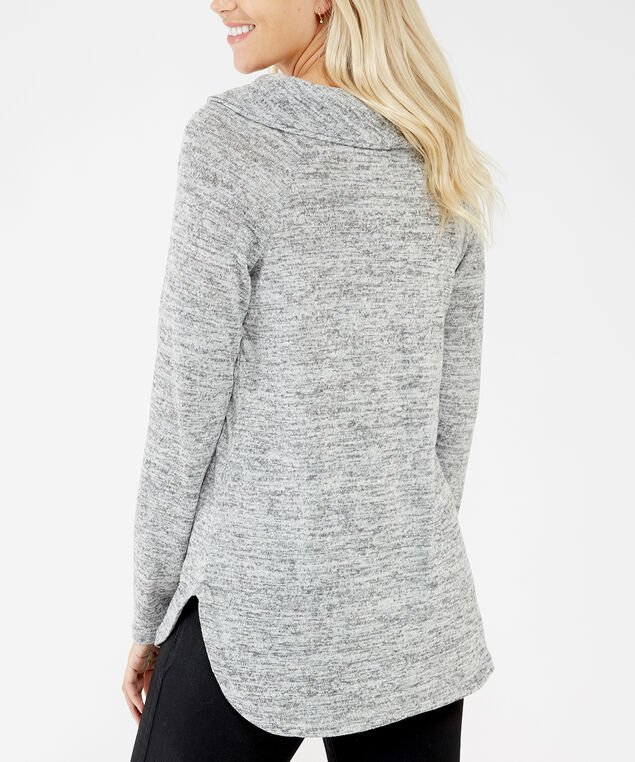 cowl neck popover sweater - wb, Grey, hi-res