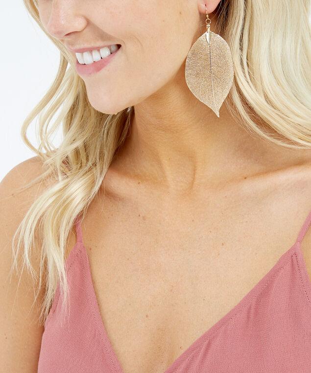 leaf dangle earrings, Gold, hi-res