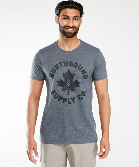 maple leaf screen t-shirt, Charcoal, hi-res