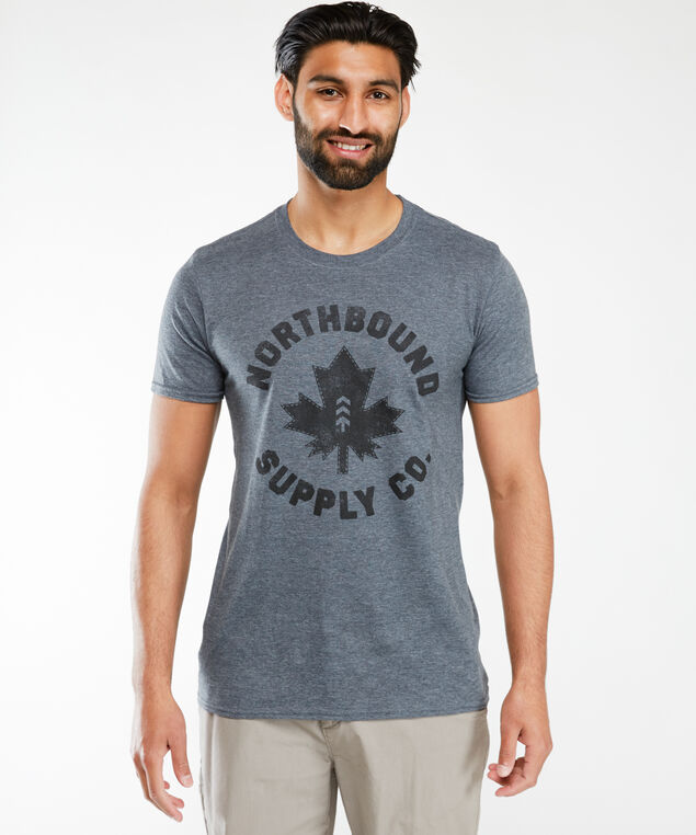 maple leaf screen t-shirt, Charcoal