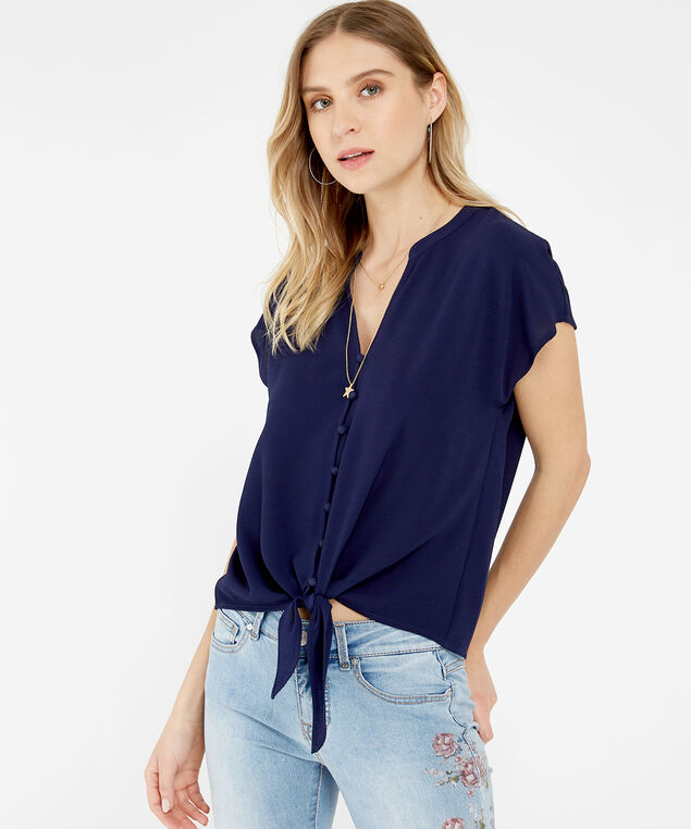 tie front top, NAVY, hi-res