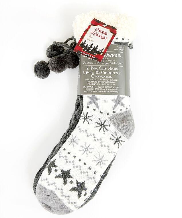 2 pack of sherpa slipper socks, Grey, hi-res