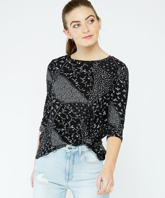 3/4 sleeve knotted top - wb, Print, hi-res