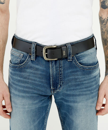 levis black leather belt, Black, hi-res