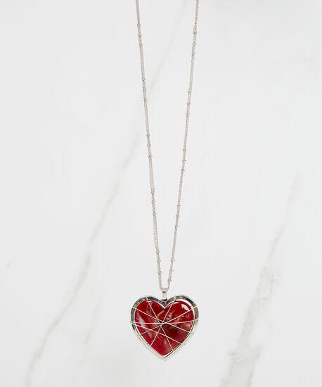 heart pendant necklace, Silver, hi-res