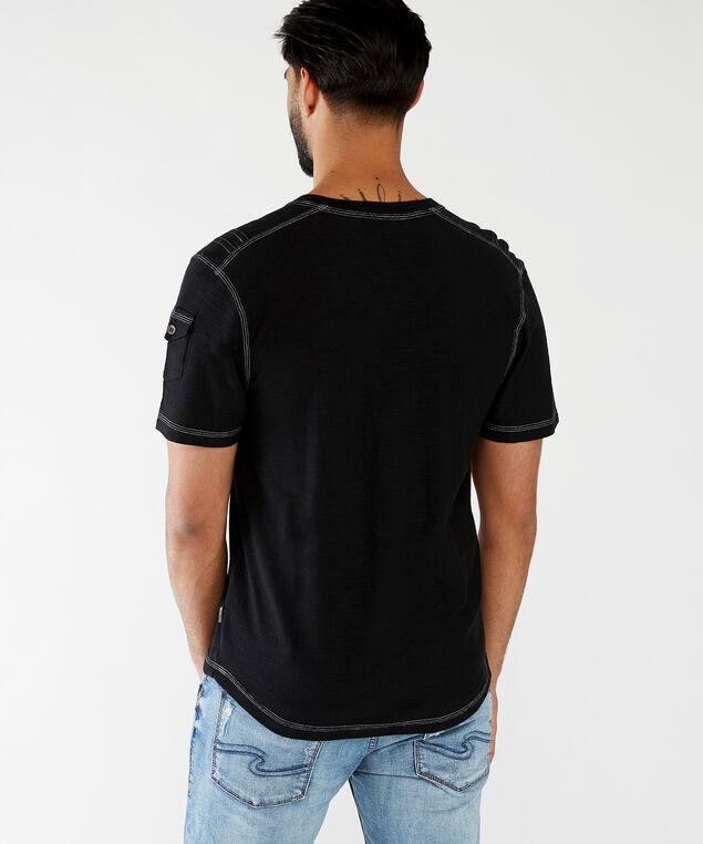 contrast stitch v-neck, Black