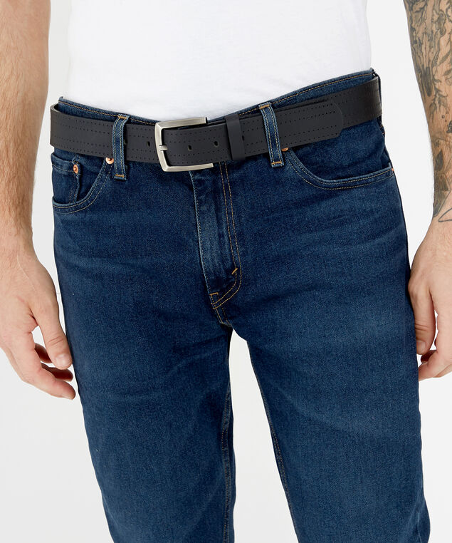 genuine leather belt, BLACK, hi-res