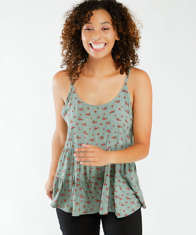 printed tiered camisole, Ditsy print