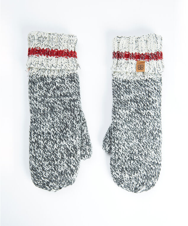 women's knit cabin mitten, Grey/Red