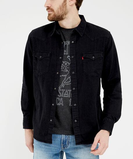 black denim shirt - wb, Black, hi-res