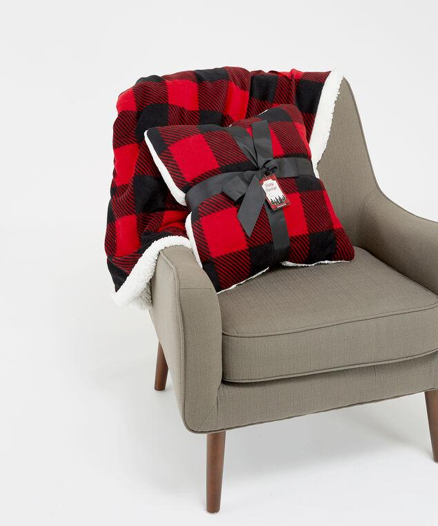 buffalo check pillow, Red Print, hi-res