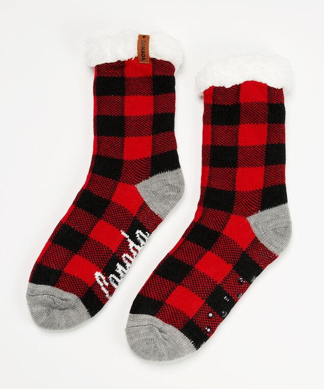 buffalo plaid slipper sock, Grey, hi-res