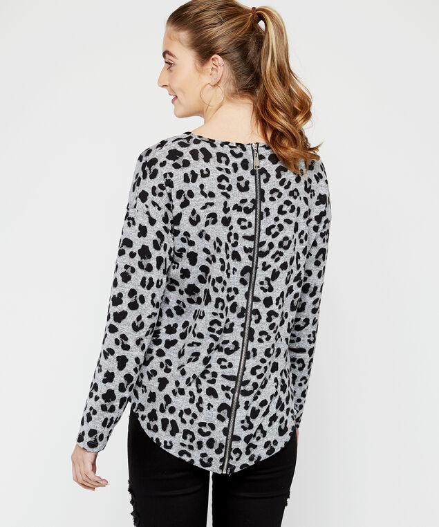 zipper back leopard top, Grey Leopard, hi-res