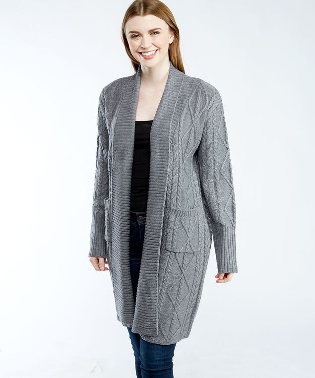 W1BR45Z2WX0 cable stitch open front duster cardigan, Dk Grey Heather