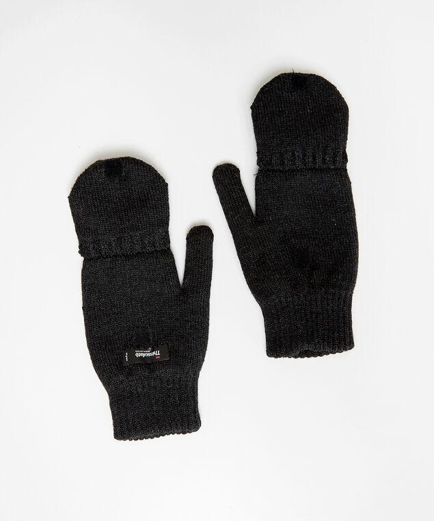 insulated flip glove, BLACK, hi-res